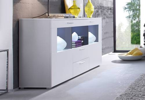Elegantes Sideboard COSMA inklusive Beleuchtung Anthrazit/weiß matt