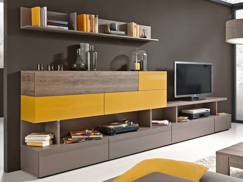 arte m beam w wohnwand iii curry eiche dunkel. Black Bedroom Furniture Sets. Home Design Ideas