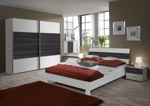 CLEO komplett Schlafzimmer III Weiss/Nuss Graphit