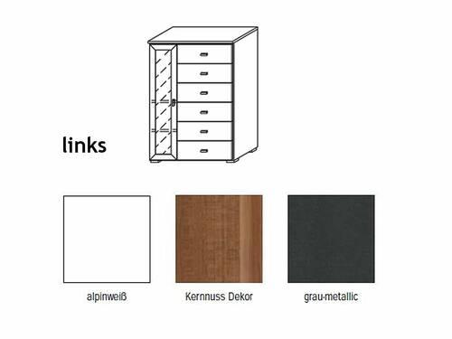 COOKIE Tür-/Schubelement klein 1 Tür und 6 Schubkasten links   Alpinweiss/grau