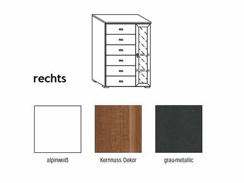COOKIE Tür-/Schubelement klein 1 Tür und 6 Schubkasten rechts | Alpinweiss/grau