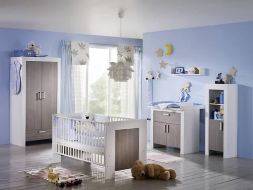 Kinderzimmer Janis Bett + Schrank + Wickelkommode 2-türig