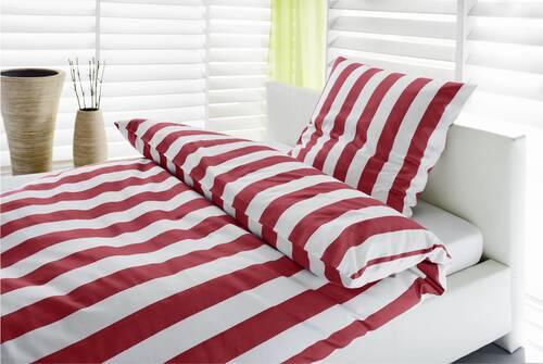 Edle Bettwäsche Streifen rot/weiss