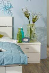 COOKIE Nachtttisch/Nachtkommode Alpinweiss/grau