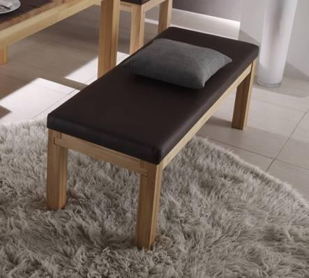SALIMA Sitzbank/Massivholzbank 130 cm | Kernbuche | lackiert | Echtleder schwarz | mit Rücken