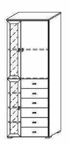 COOKIE Tür-/ Schubelement 3trg links   Alpinweiss