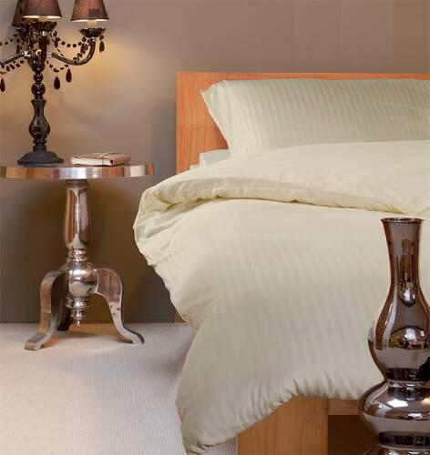 Yamuna Satin-Bettwäsche 135x200 cm elfenbein Damast-Streifen