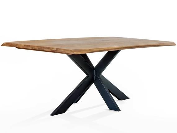 KABIRA Massivholztisch 200x100 cm, Wildeiche geölt/Metallgestell Doppel-X  DETAIL_IMAGE
