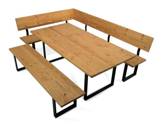 CURBY Essgruppe, rustikale Altholzoptik, Material Massivholz, Fichte gebürstet 167 x 256 cm | ohne Sitzkissen  DETAIL_IMAGE