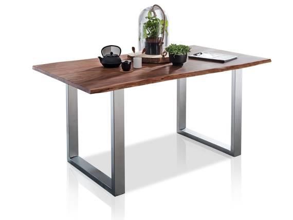 ATHEN Massivholzesstisch, Material Massivholz/Metall, Akazie lackiert 140 x 90 cm | alufarbig DETAIL_IMAGE