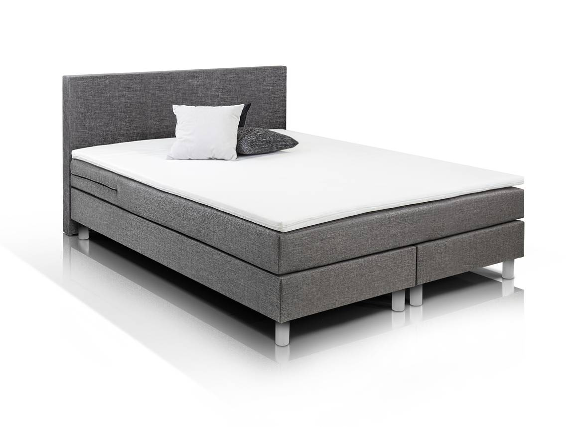 balu boxspringbett 140 x 200 cm grau. Black Bedroom Furniture Sets. Home Design Ideas