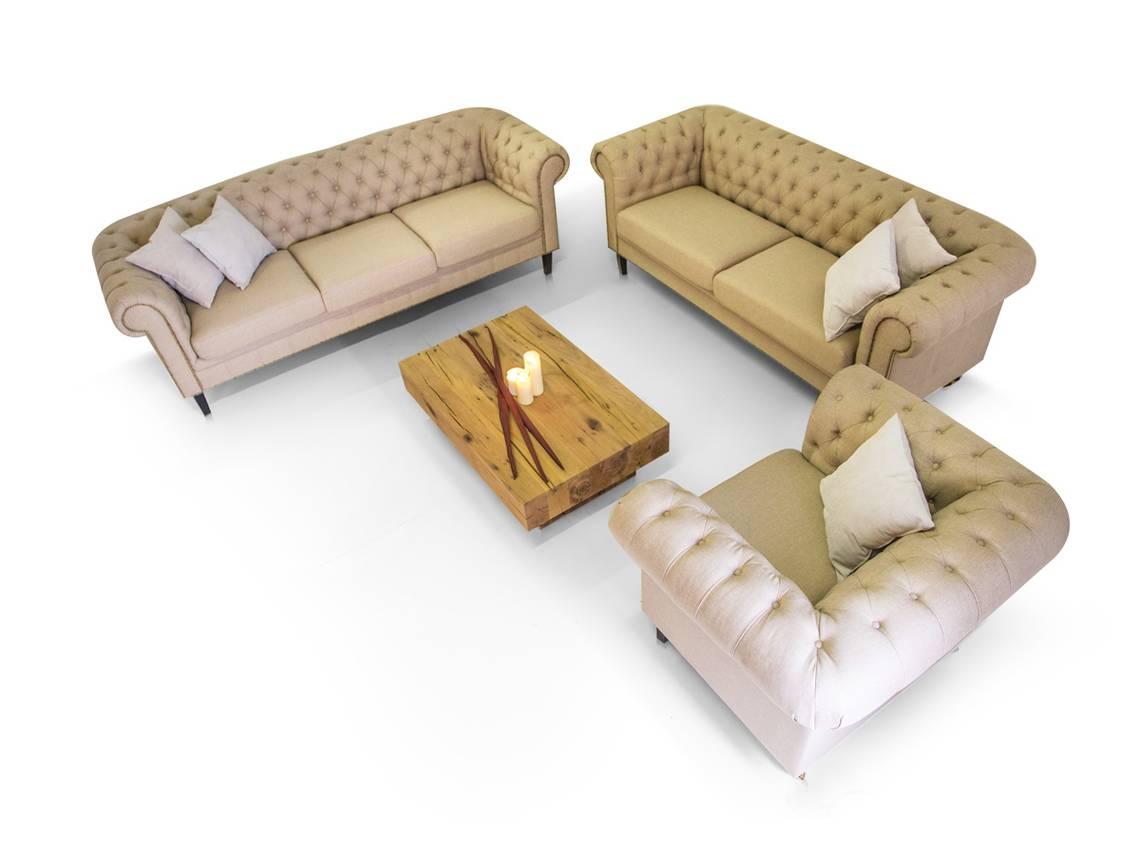 chesterfield santos 3 2 1 sofa garnitur cappuccino. Black Bedroom Furniture Sets. Home Design Ideas
