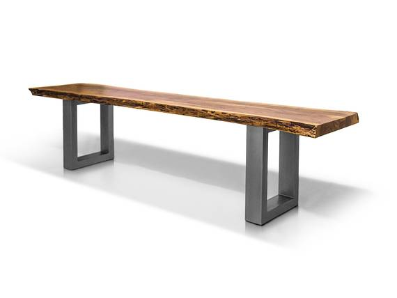 DALIN Sitzbank Akazie massiv/ Metallfüße 180 cm | alufarbig DETAIL_IMAGE