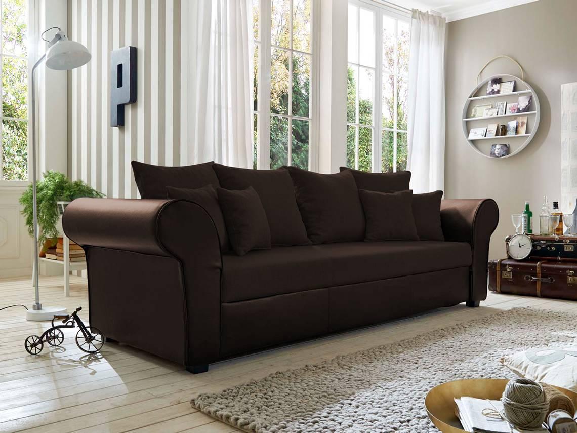 lessy big sofa microfaser braun. Black Bedroom Furniture Sets. Home Design Ideas