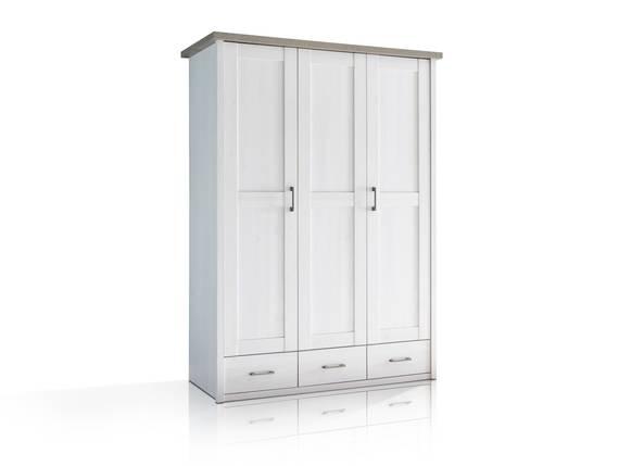 LUBA Kleiderschrank 3trg, Material MDF, weiss piniefarbig/trüffelfarbig  DETAIL_IMAGE