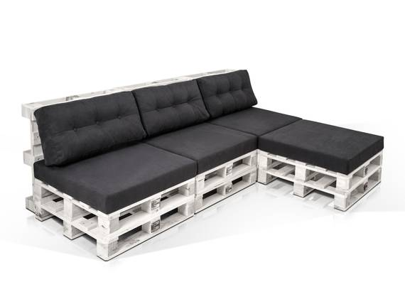 PALETTI Ecksofa 3-Sitzer aus Paletten Fichte weiss lackiert ohne Armlehnen DETAIL_IMAGE