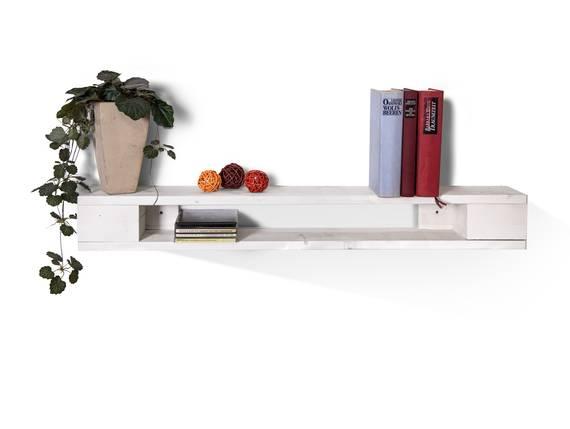 PALETTI Wandregal 90 cm, Material Massivholz weiss lackiert DETAIL_IMAGE