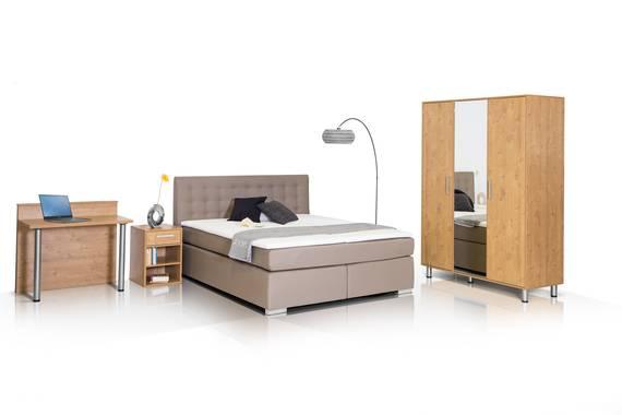 HOTEL Komplett Zimmer, Material Dekorspanplatte, wildeichefarbig  DETAIL_IMAGE