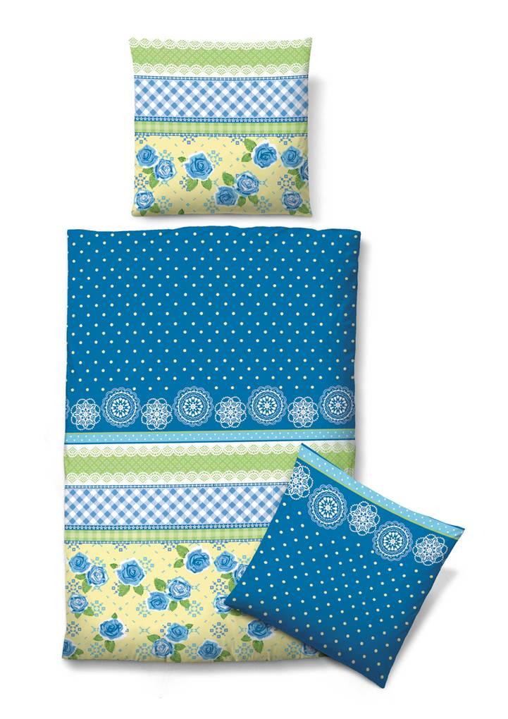 biberna seersucker bettw sche rot blau und blau gelb rosen 155 220 cm 80 80 cm blau gelb. Black Bedroom Furniture Sets. Home Design Ideas