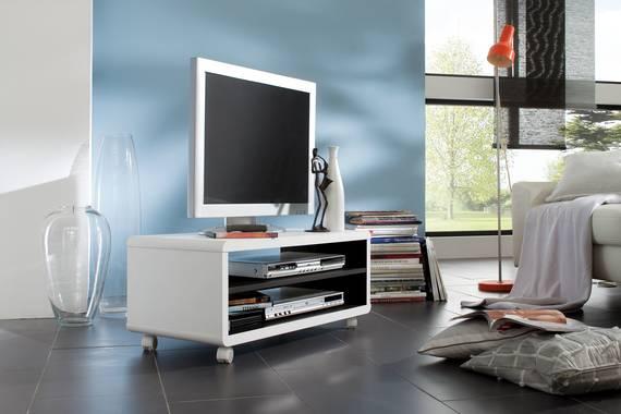 JAAP 7 TV-Lowboard weiss/innen schwarz mit Rollen