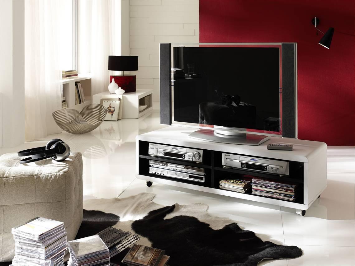 JAAP 7XL TV-Lowboard weiß/innen schwarz mit Rollen