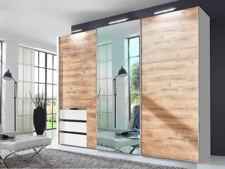 lakota schwebet renschrank plankeneiche weiss 300 cm 236 cm inkl spiegel. Black Bedroom Furniture Sets. Home Design Ideas