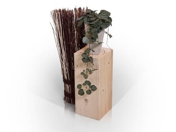 Blumensäule / Dekosäule, Material Massivholz, Fichte massiv natur | 13x13 cm | 40 cm DETAIL_IMAGE