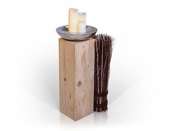 Blumensäule / Dekosäule, Material Massivholz, Fichte massiv natur | 13x13 cm | 60 cm DETAIL_IMAGE