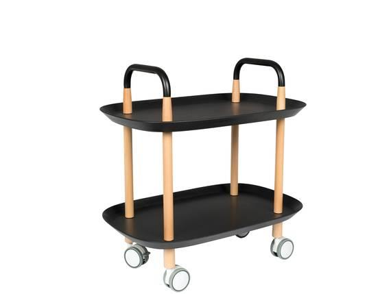 TESSINA Servierwagen mit 2 Ablagen, Material Massivholz/Kunststoff Buche/schwarz DETAIL_IMAGE