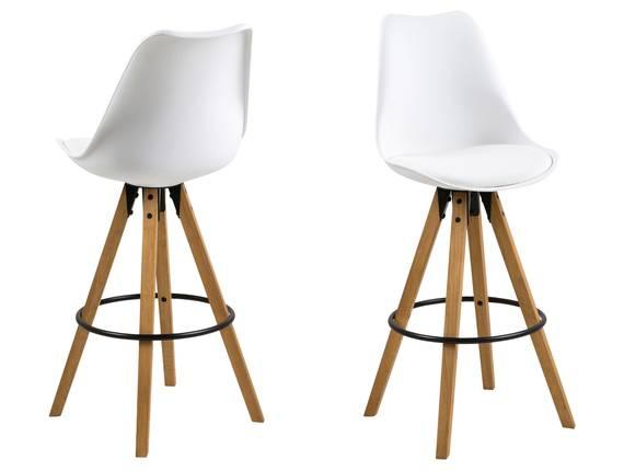 DALLAS Barhocker, Material Kunststoff/Massivholz, Gestell eichefarbig weiss | Kunststoff DETAIL_IMAGE
