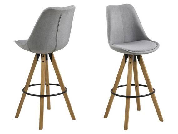 DALLAS Barhocker, Material Kunststoff/Massivholz, Gestell eichefarbig grau   Stoff DETAIL_IMAGE