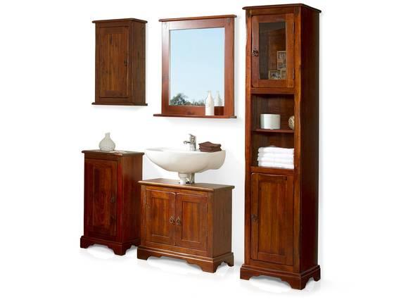 CESI 5-teiliges Badezimmerset, Material Massivholz, Pinie braun lackiert  DETAIL_IMAGE