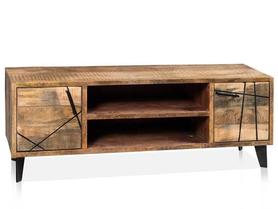CORTEZ TV-Board, 2 Türen, 2 offene Fächer, Material Massivholz, Mango  DETAIL_IMAGE