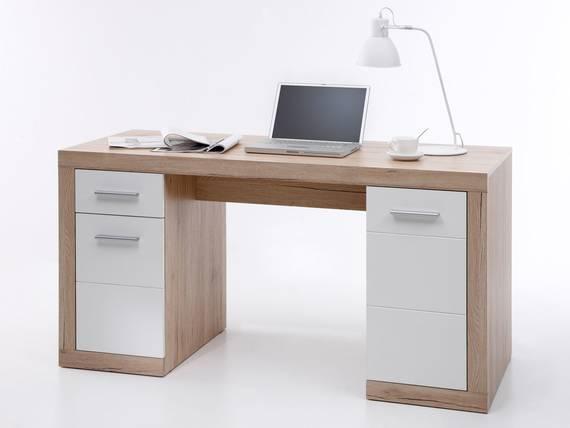 CHESTER Schreibtisch groß, Material Dekorspanplatte, Eiche sanremofarbig/weiss  DETAIL_IMAGE