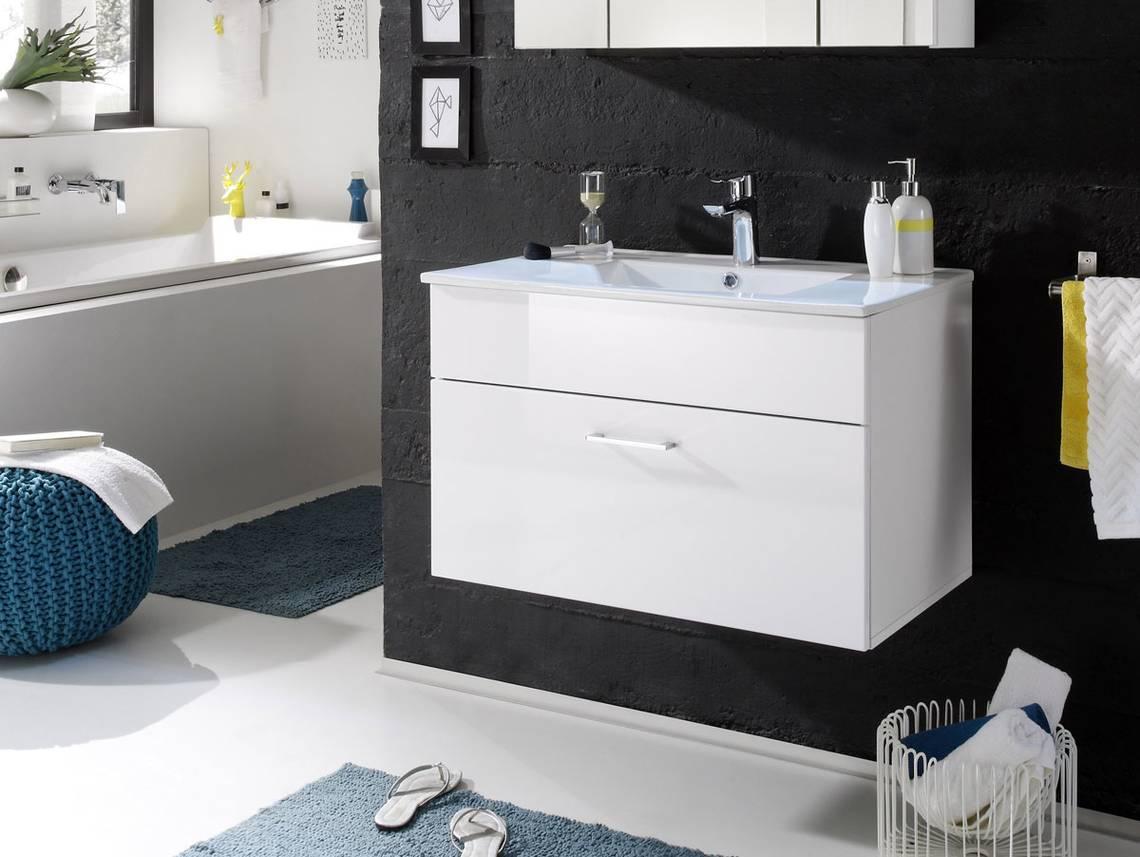 sunny waschtisch inkl becken mit einer schublade weiss. Black Bedroom Furniture Sets. Home Design Ideas