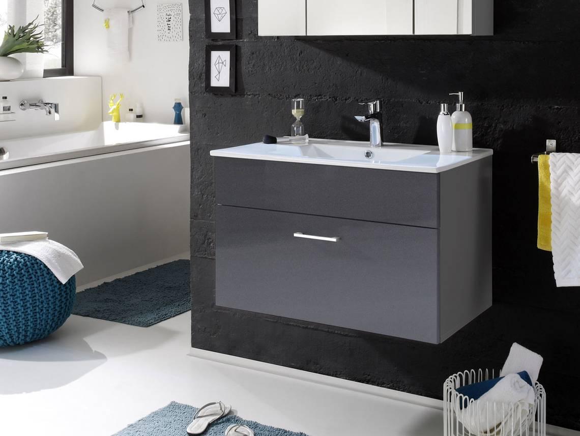 slot waschtisch inkl becken mit einer schublade grau. Black Bedroom Furniture Sets. Home Design Ideas