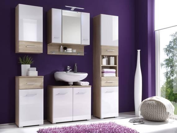 BORALO Badezimmer-Set, Material MDF, weiss Hochglanz/Eiche sonomafarbig  DETAIL_IMAGE