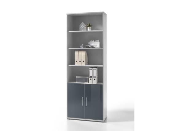 OFFICE DELUXE Büroschrank/Regal, Material Dekorspanplatte/_Glas, grau/graphit lackiert  DETAIL_IMAGE