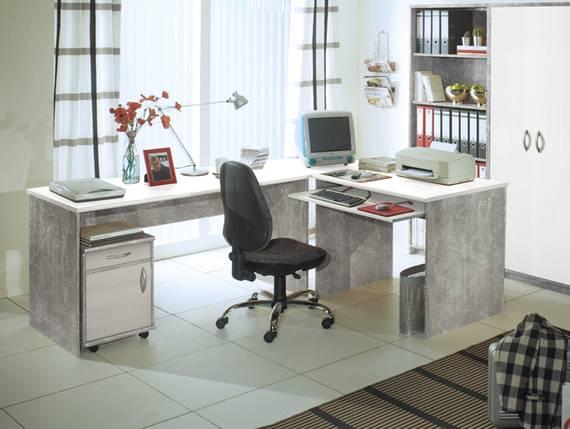 OFFICE COMPACT Winkelkombination, Material Dekorspanplatte betonfarbig DETAIL_IMAGE