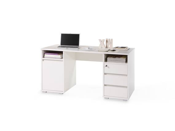 PANJO Schreibtisch, Material Dekorspanplatte weiss DETAIL_IMAGE