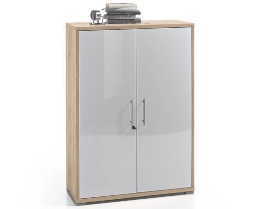 OFFICE DELUXE Büroschrank niedrig, Material Dekorspanplatte/Glas, Eiche sonomafarbig/weiss  DETAIL_IMAGE