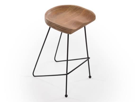 HELIMA Barstuhl / Barhocker, Material Massivholz / Metall, Sitzfläche Mango, Gestell Metall schwarz  DETAIL_IMAGE