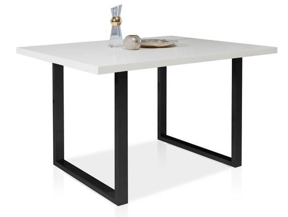 TOKARA Esstisch, Material Dekorspanplatte/Gestell Metall schwarz 140 x 90 cm | weiss DETAIL_IMAGE