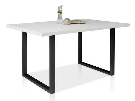 TOKARA Esstisch, Material Dekorspanplatte/Gestell Metall schwarz 160 x 90 cm | weiss DETAIL_IMAGE