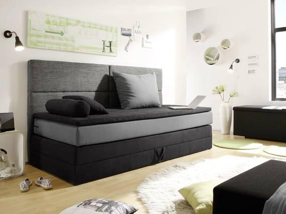 patron boxspringbett mit bettkasten 90x200 cm schwarz grau. Black Bedroom Furniture Sets. Home Design Ideas