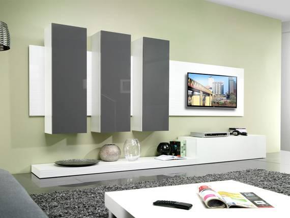 limay wohnwand hochglanz weiss grau. Black Bedroom Furniture Sets. Home Design Ideas