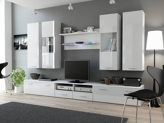 disco wohnwand weiss weiss. Black Bedroom Furniture Sets. Home Design Ideas