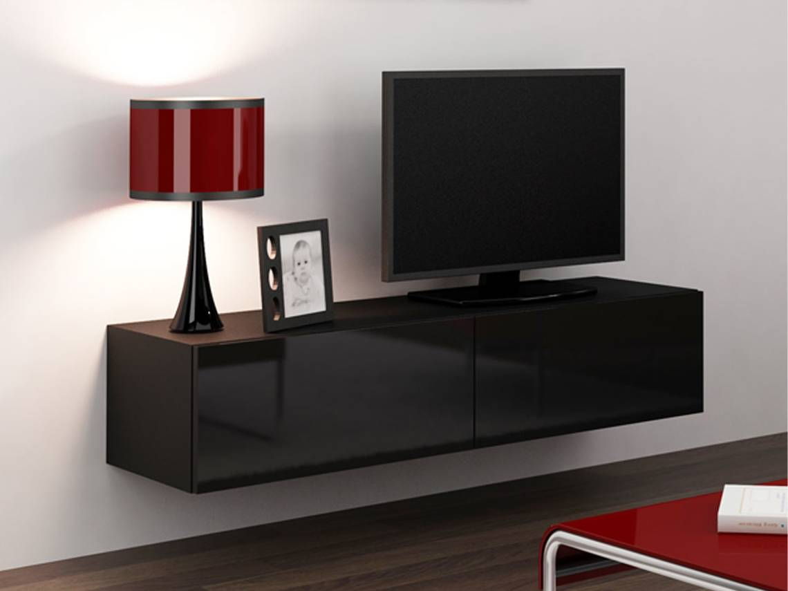 vanity tv unterteil mini 140 cm schwarz. Black Bedroom Furniture Sets. Home Design Ideas