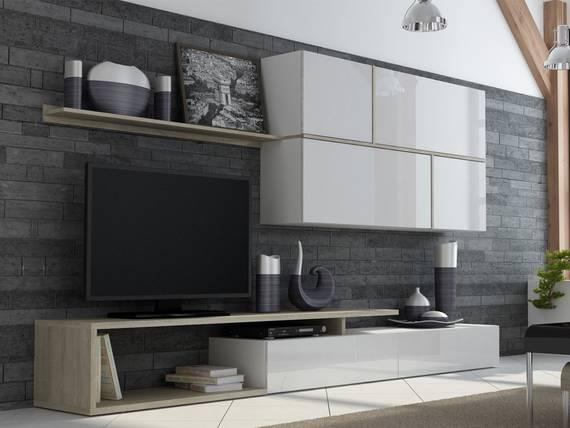 georg wohnwand anbauwand weiss eiche sonoma. Black Bedroom Furniture Sets. Home Design Ideas