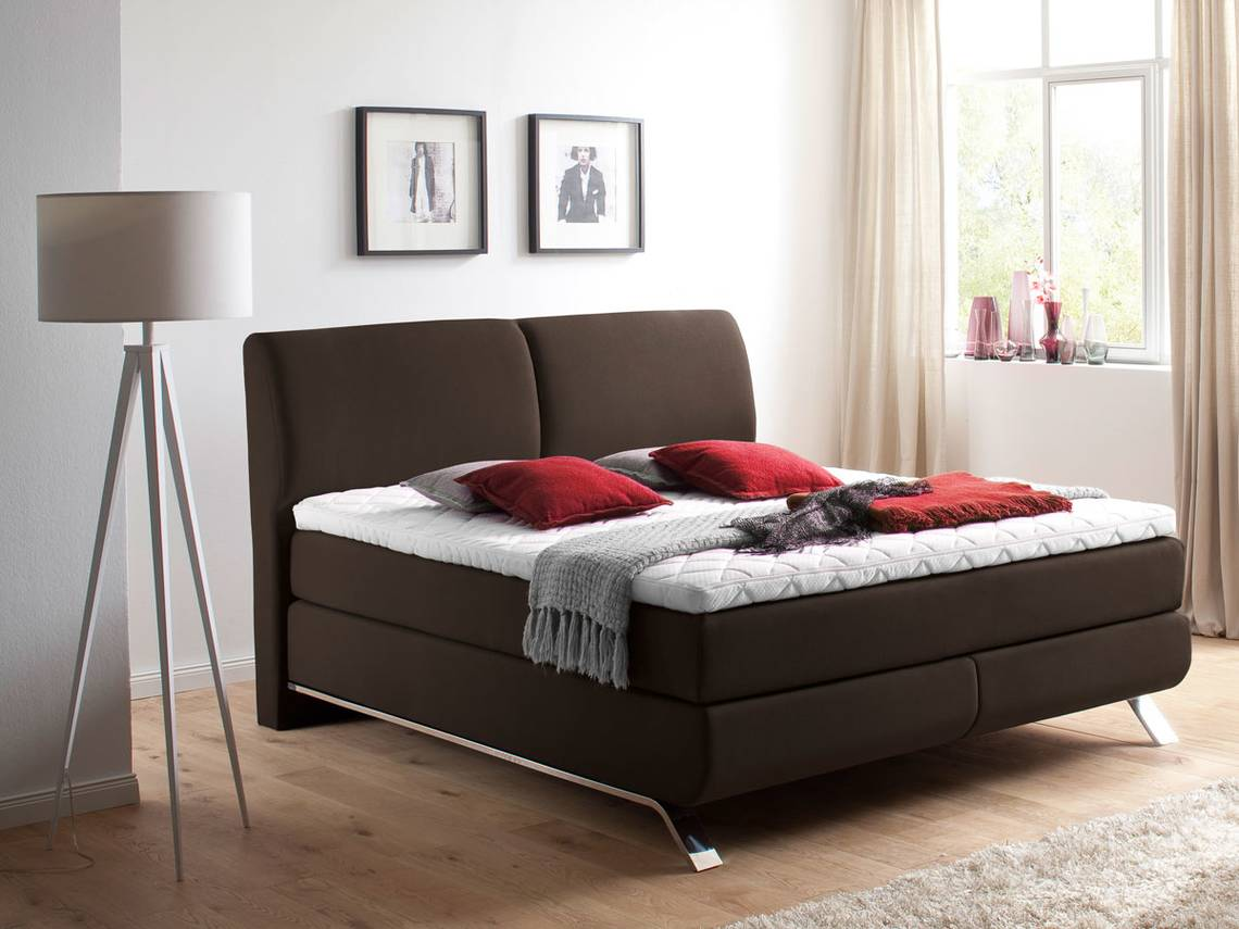 adonis boxspringbett stoffbezug 160 x 200 cm braun. Black Bedroom Furniture Sets. Home Design Ideas